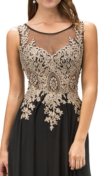 Lace Appliqued Chiffon Prom Dress