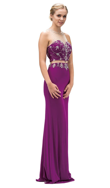 Bejeweled Two-piece Garland Motif Long Prom Dress - ADASA