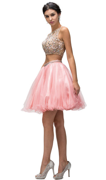 Embellished Two Piece Prom Dress