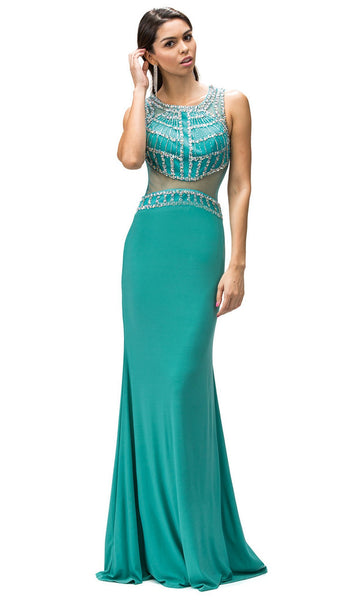 Bejeweled Illusion Scoop Prom Dress - ADASA