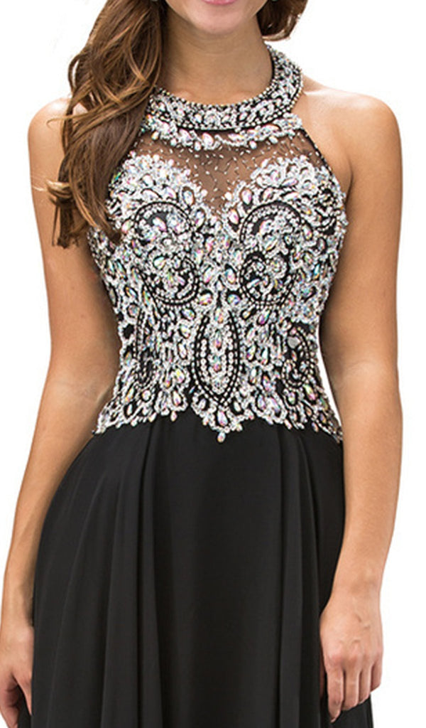Jewel Adorned Illusion Chiffon Prom Dress