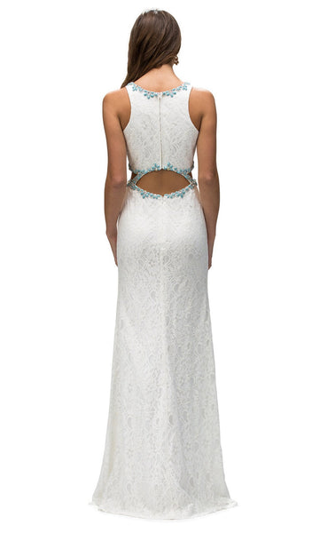 Sleeveless Jewel Neck Lace Cutout Prom Dress