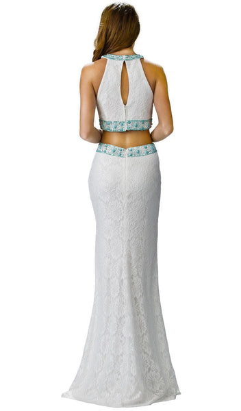 Embroidered Two Piece Formal Dress
