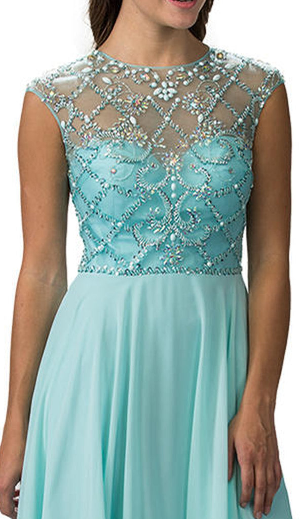Embellished Sheer Bodice Cap-Sleeve Prom Dress