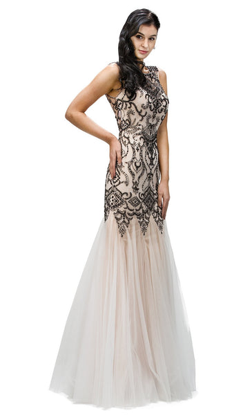 Beaded Godet Inset Mermaid Prom Dress - ADASA