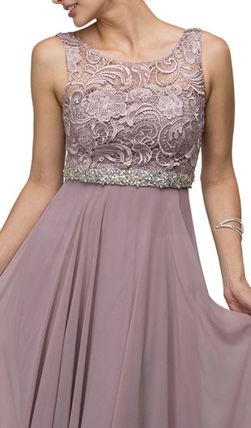 Embroidered Lace Scoop Neck Chiffon Prom Dress