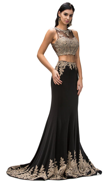 Laced High Neck Two-Piece Mermaid Prom Dress
