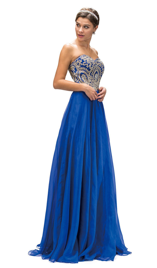 Embroidered Lace Strapless Sweetheart A-Line Prom Dress