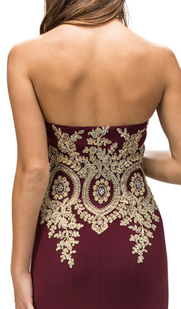 Strapless Sweetheart Baroque Sheath Prom Dress