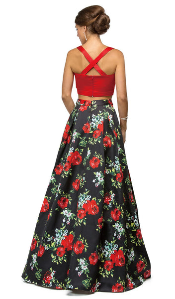 Scoop Neck Two Piece Floral Print Evening Dress