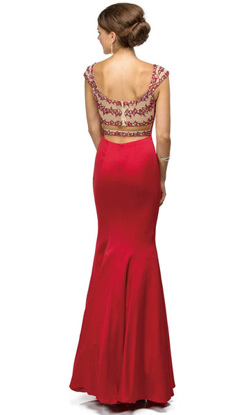 Sweetheart Sheer Back Mermaid Prom Dress