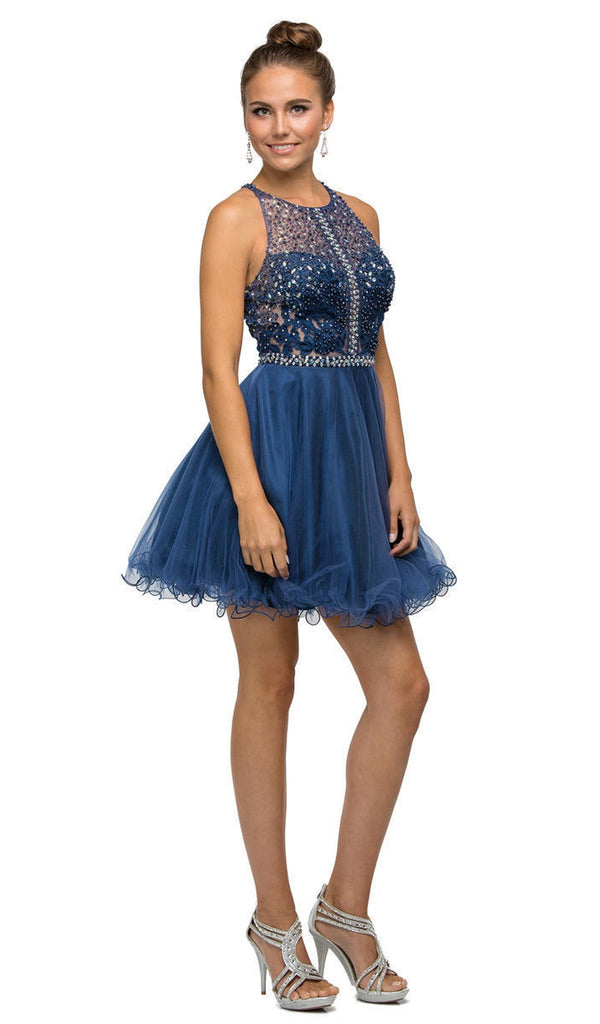 Racerback Short Baby doll Homecoming Party Dress