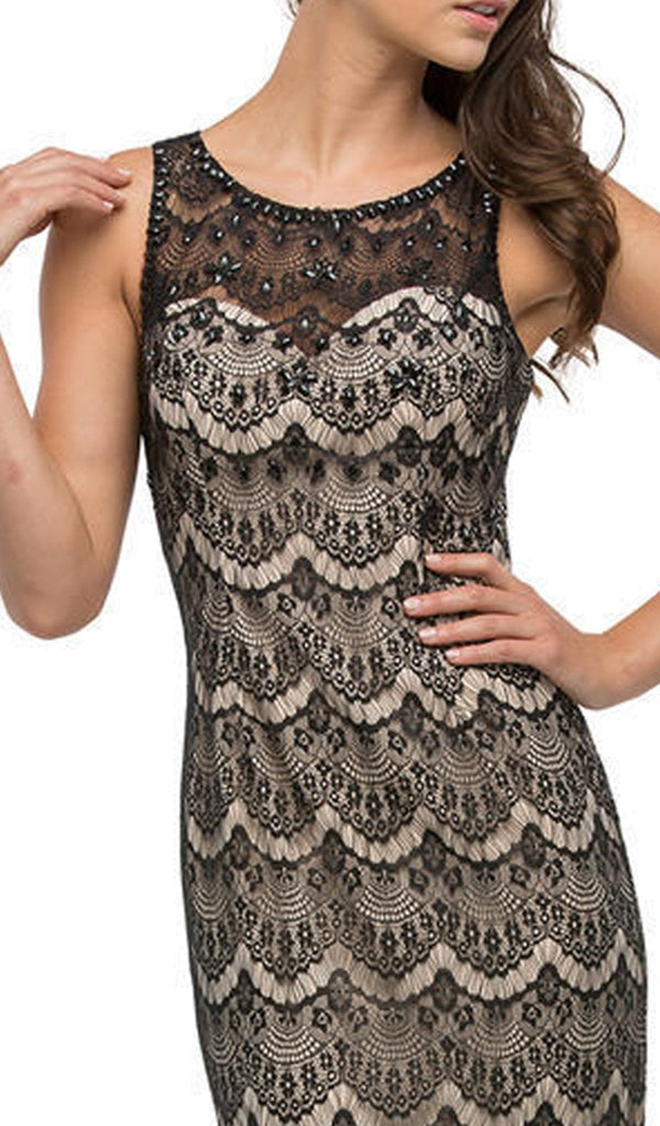 Scallop Lace Illusion Sweetheart Evening Dress