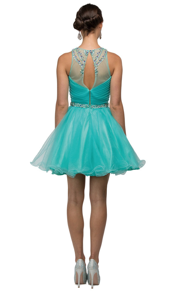 Bejeweled and Pleated Bodice Cocktail Dress - ADASA