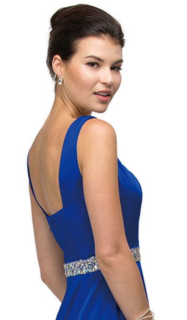 Bejeweled Waist Satin Sheath Formal Dress - ADASA
