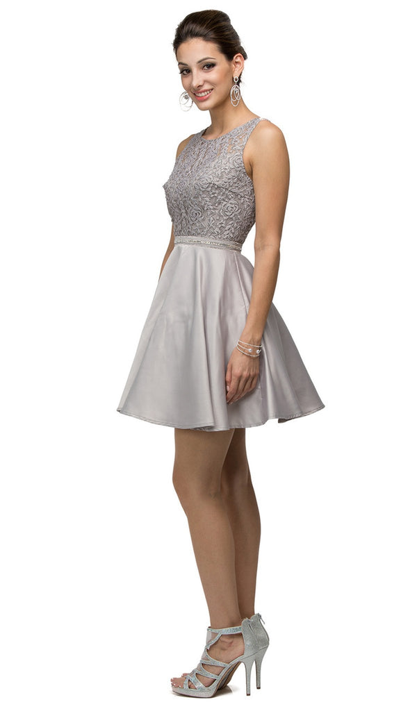 Lace Overlaid Scoop Illusion Satin Cocktail Dress