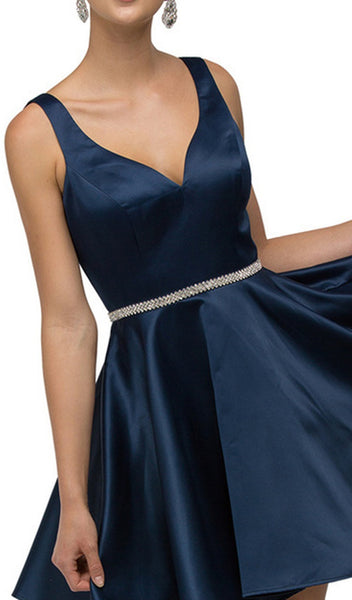Sleeveless Sweetheart Satin Bejeweled Cocktail Dress