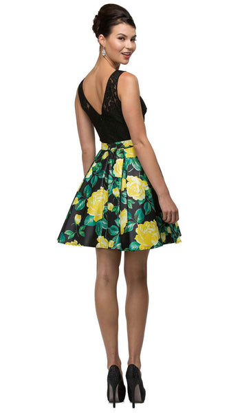 Floral Print Illusion A-Line Cocktail Dress
