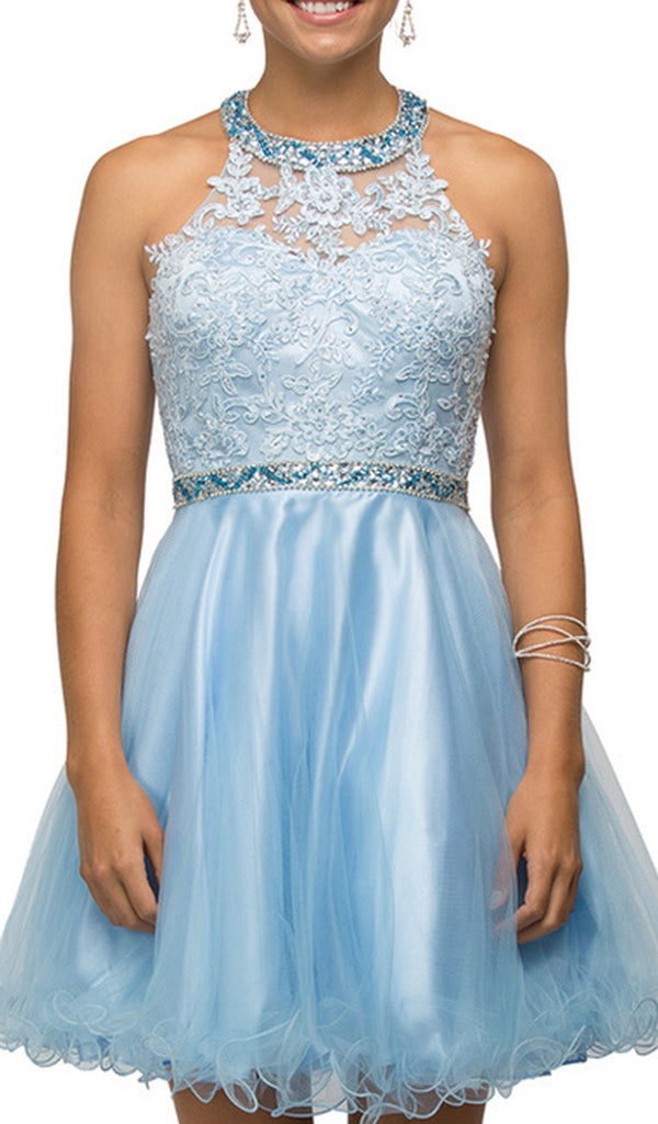 Bejeweled Collar Halter Lace A-Line Homecoming Dress - ADASA