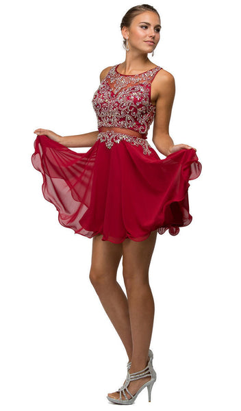 Mock Two-Piece A-Line Short Homecoming Dress