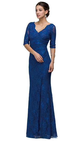 Embroidered V-Neck Evening Dress
