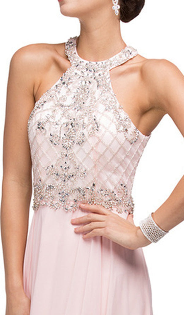 Halter Neck Jewel-Embellished Bodice Prom Dress