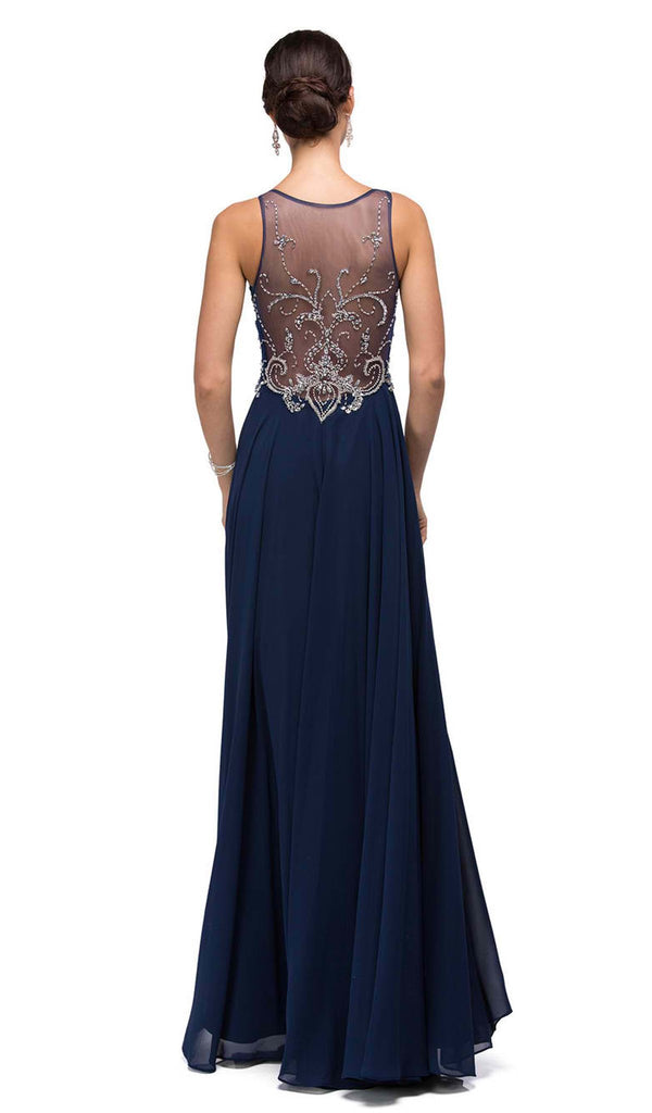 Long Lace Adorned Illusion A-Line Prom Dress