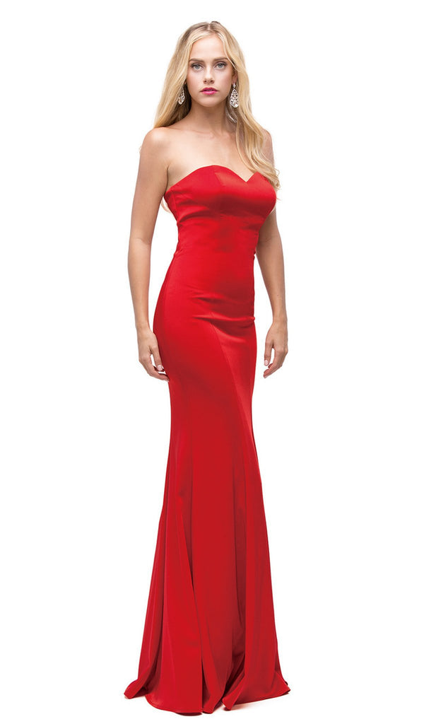 Long Strapless Trumpet Prom Dress