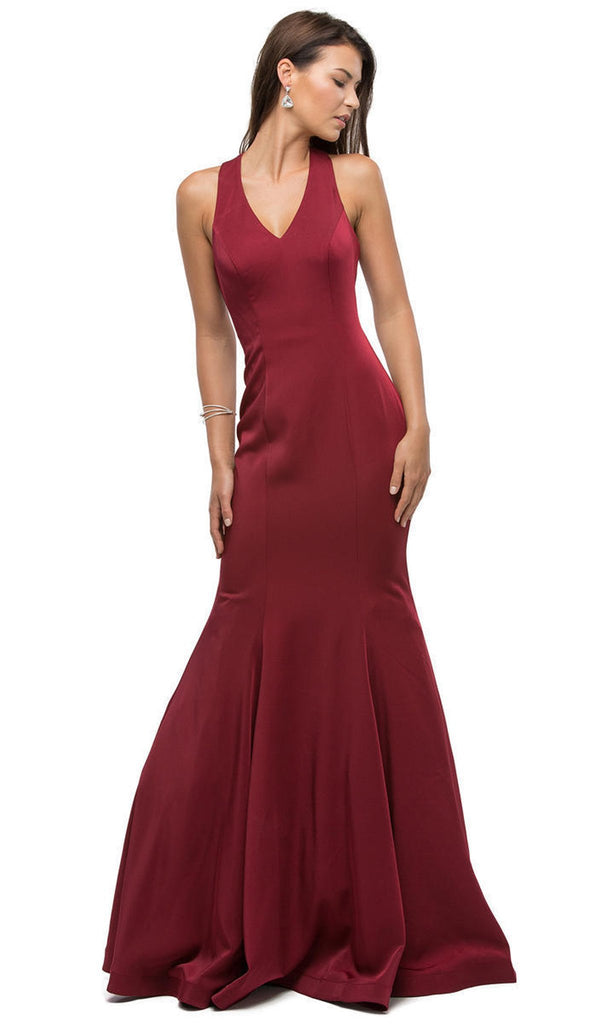 Magnificent V-Neck Racer Back Prom Dress