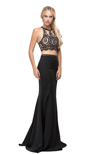 Two-Piece Lace Applique Bodice Prom Dress