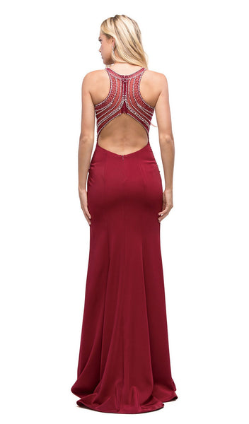 Embellished Bodice Long Prom Dress with Racer Back - ADASA