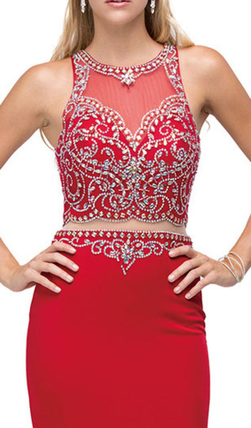 Mock Two-Piece Embellished Bodice Prom Gown
