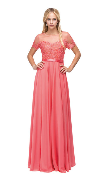 Short Sleeve Illusion Yoke Chiffon Evening Dress