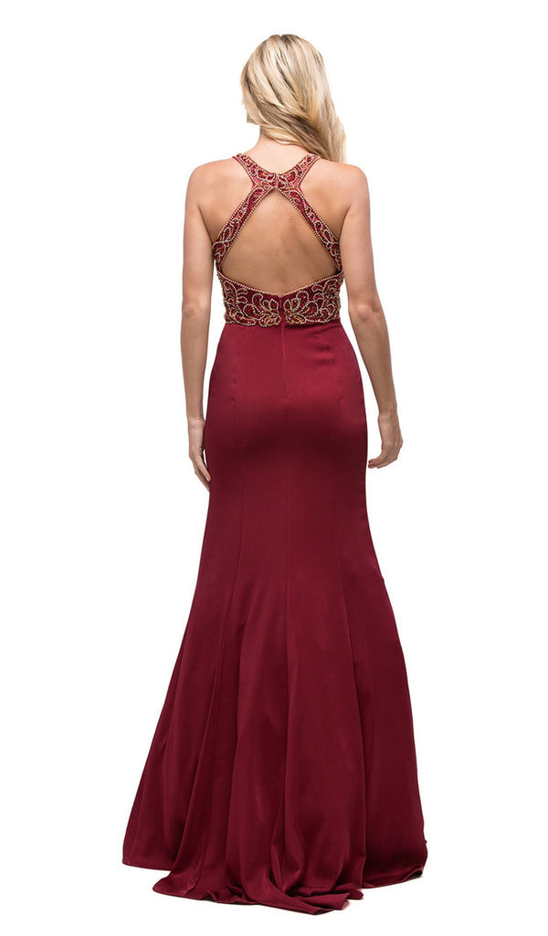 Halter Prom Dress with Embellished Bodice