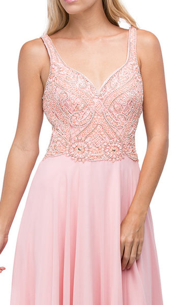 Beaded Bodice V-Neck Long A-line Prom Dress - ADASA