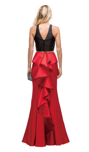 Two Piece Trumpet Silhouette Prom Dress with Ruffled Back