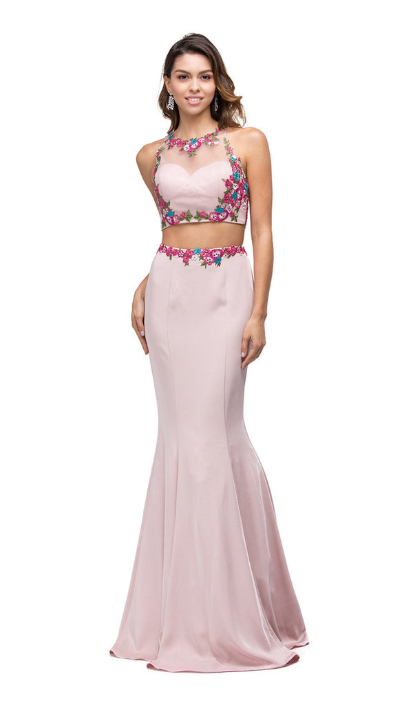 Floral Embroidered Two-piece Mermaid Prom Dress