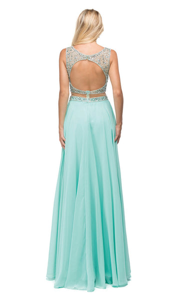 Illusion Two-Piece Embellished Top Prom Dress