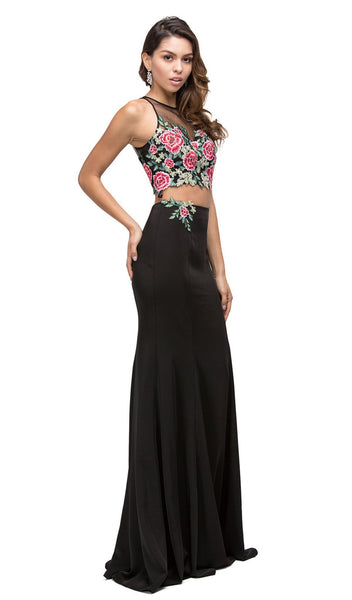 Embroidered Floral Applique Two-Piece Evening Dress