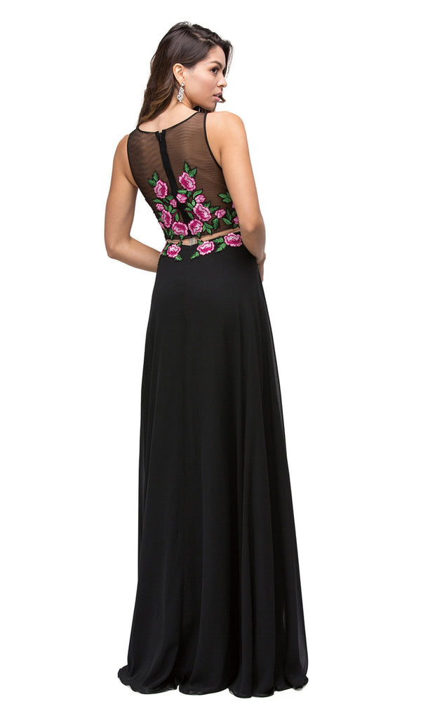 Simulated Two-Piece Embroidered Applique Evening Dress