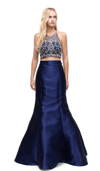 Embellished Two Piece Mermaid Evening Dress