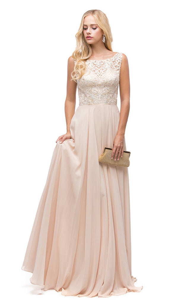 Elegant Lace Illusion A-Line Long Prom Dress - ADASA