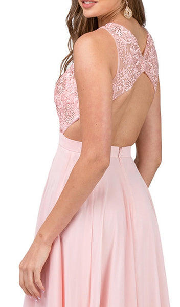 Beaded Lace Jewel Neck A-line Prom Dress