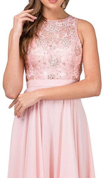 Beaded Lace Jewel Neck A-line Prom Dress - ADASA
