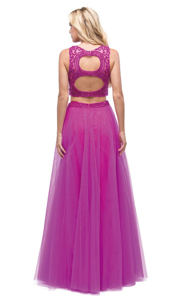 Embellished Two-Piece Cut Out Back Evening Dress