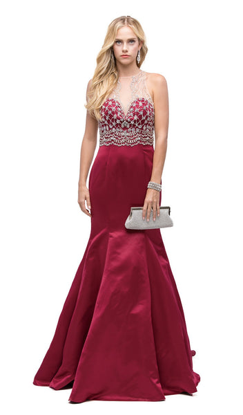Jeweled Illusion Halter Mermaid Evening Dress