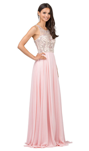 Beaded Illusion Scoop A-line Evening Dress - ADASA