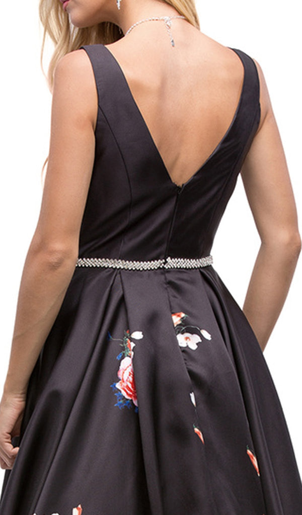 Attractive Long V-Neck Floral Print Prom Dress - ADASA