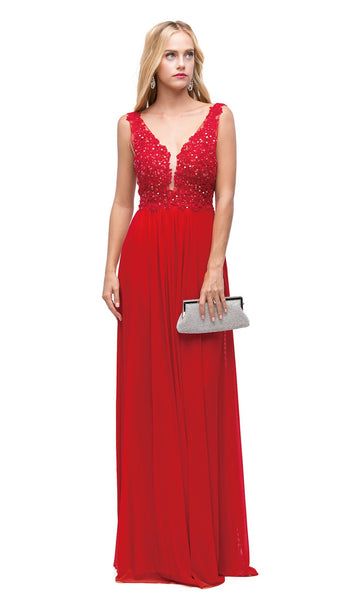 Embroidered V-neck A-line Evening Dress