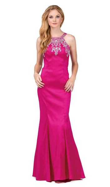 Embellished Halter Mermaid Evening Dress - ADASA